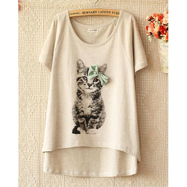 Sweet Casual Style Women's Round Neck Cat Bow T-Shirt Short Sleeve Bowknot Asymmetrical - Shenzhen Robinzon store