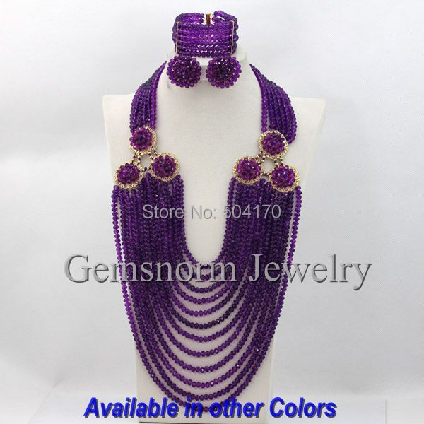 Colorful Purple African Beads Jewelry Sets Nigerian Wedding Jewelry Sets Full Beads Indian Bridal Jewelry Sets Hot GS453(China (Mainland))