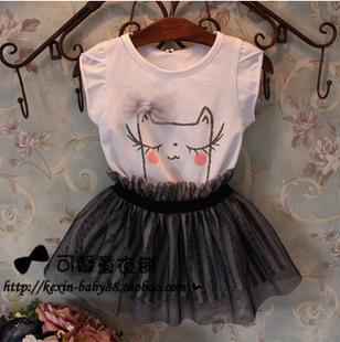 Детские и дети мультфильм печатных одежда комплект платье комплект девочка детская ...