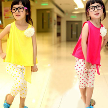 2015 children s clothing summer set child flower female vest polka dot harem pants kids clothes