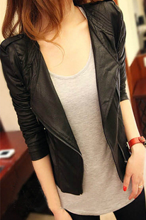 Free shipping/Drop shipping Black Vintage 2013 Hotsale Women PU Leather Mlitary Rivet Slim Fit Crew Neck Short Jacket