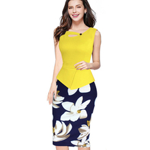 Nice-forever 2016 New arrival Print Floral Solid Patchwork Button Casual Work Sleeveless Bodycon Spring Summer office Dress b288(China (Mainland))