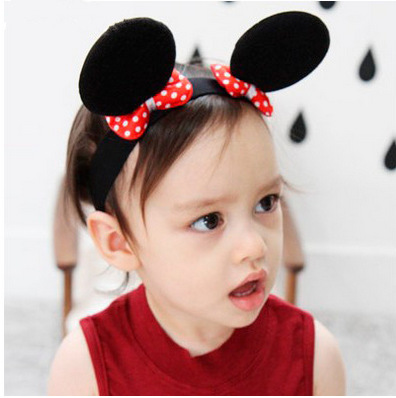 2016 Hot Lovely Girls Bows Minnie Mickey Ear Baby Hair Accessories Minnie Mouse Party Bow Headband Fashion kid birthday Headwear(China (Mainland))