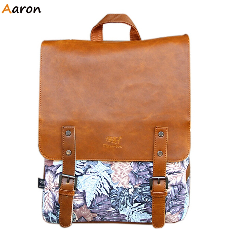 Aaron - Vintage Floral Design Backpacks For Men,Unisex Bags With Double Belt Front,British Style Leisure Leather Shoulder Bags<br><br>Aliexpress