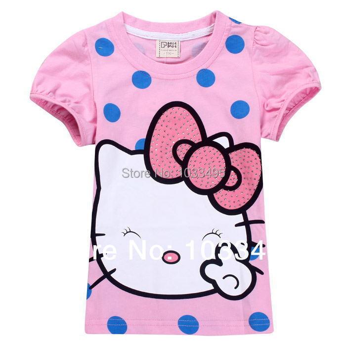 Free shipping summer children 2014 new hello kitty baby girls t shirts kids tops tees girls dot cartoon cotton princess t-shirt(China (Mainland))