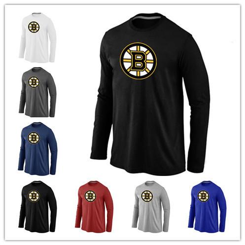 Pas cher Boston Bruins Hockey À Manches Longues T Shirts Grand & Logo Grand Mode Bruins Hockey T-shirt Coton O-cou T-shirt(China (Mainland))