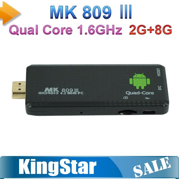 2014 MK809 III Quad Core RK3188 Android TV Stick 2GB/8GB Bluetooth WIFI XBMC AirPlay Mk809 iii Mini PC Dongle Android 4.2.2(China (Mainland))