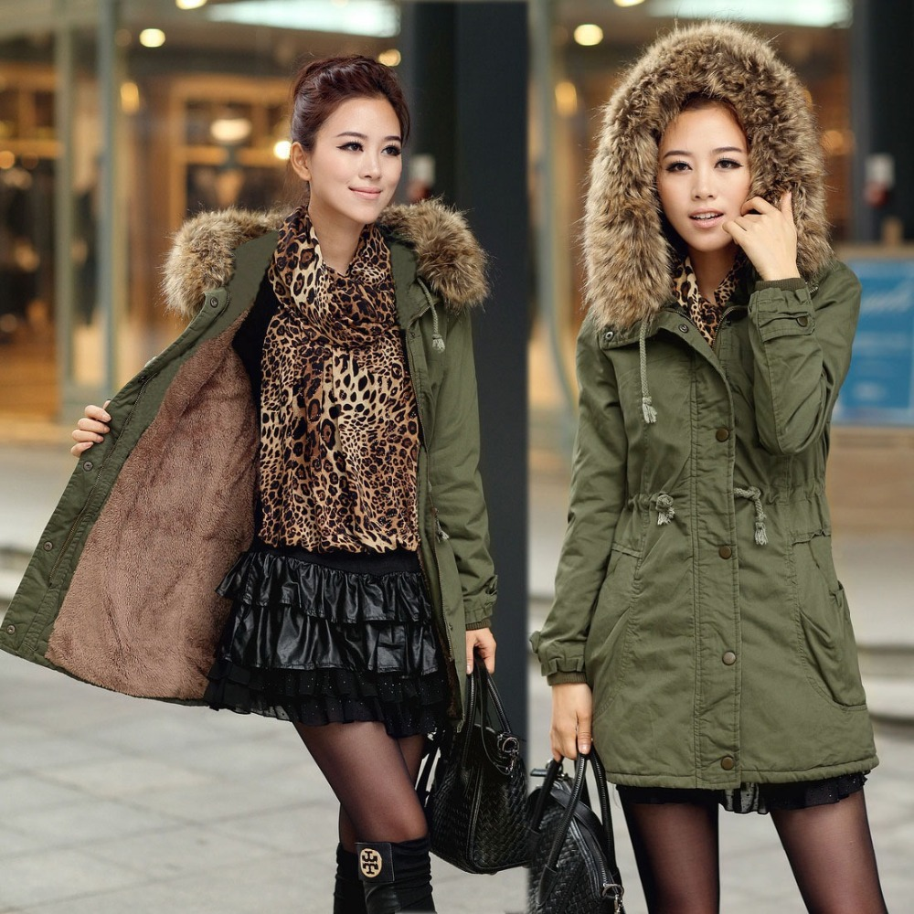 TOP quality new 2015 winter jacket coat women's parkas army green Large raccoon fur collar hooded woman outwear loose clothing(China (Mainland))