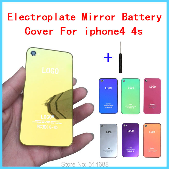 7 colors Electroplate Mirror Toughened glass Battery Back Door replacement Cover Case Housing iphone4 4s original logo - Petsun trading company ltd store
