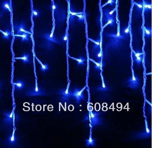 96 LED Icicle Christmas Holiday Light Wedding Party garden Xmas Decoration 9.4ft Clear Bulb Snowing curtain light with tail plug(China (Mainland))