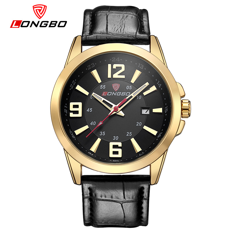 LONGBO Luxury Brand Men Watch Men Fashion Casual Male Quartz Wrist Watch Leather Strap Analog Sports