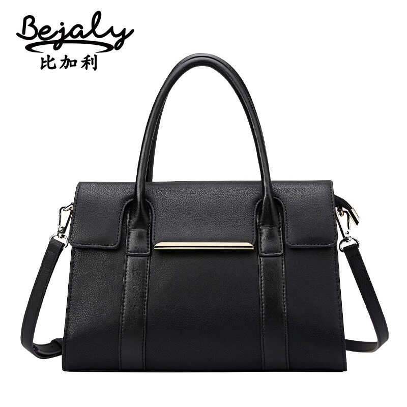 Фотография Bags Handbags Women Genuine Leather Bag BEJALY Brand Popular Simple Shoulder Bag Fashion Cowhide Cover Handbags Messenger Bags