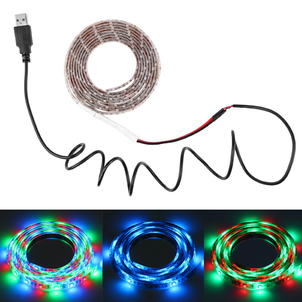 Гаджет  DC 5V double PCB 1/2/3/4/5m LED SMD 3528 RGB Streifen USB-Kabel Light Strip tape lamp+USB Cable+3key control for TV Background None Свет и освещение