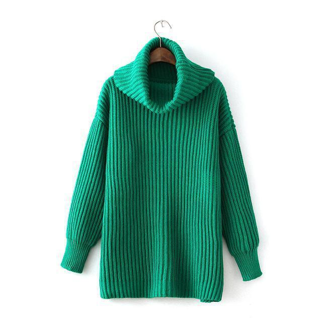 WST100# Women Roll Neck Tunic Sweater And Pullovers In Rib, 5 Colours Available.(China (Mainland))