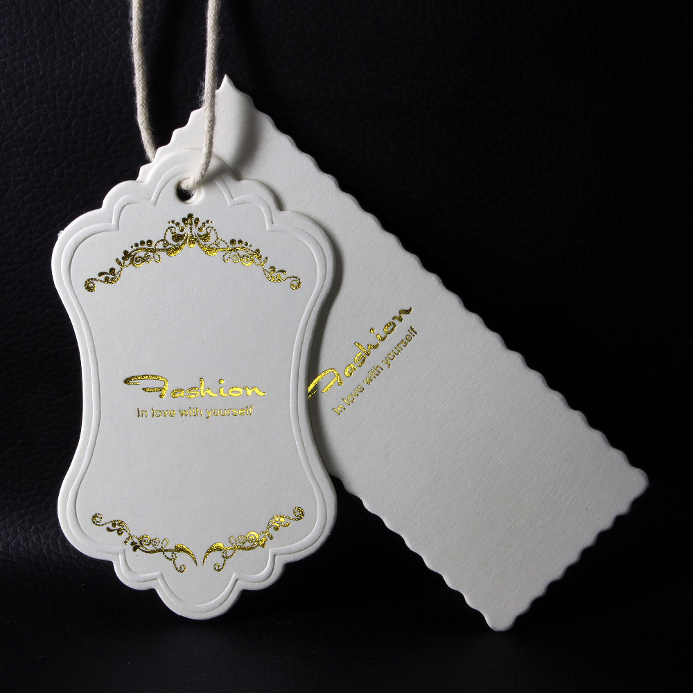 Free die cut gold silver foil/stamping garment tags custom brand name logo printing for clothing 800 paper clothing tags labels(China (Mainland))