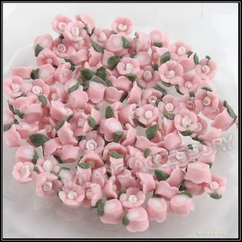 300pcs/lot Charms Wholesale Pink Flower Polymer Clay Slices Jewelry Accessory Fit Nail Art Decoration 250112