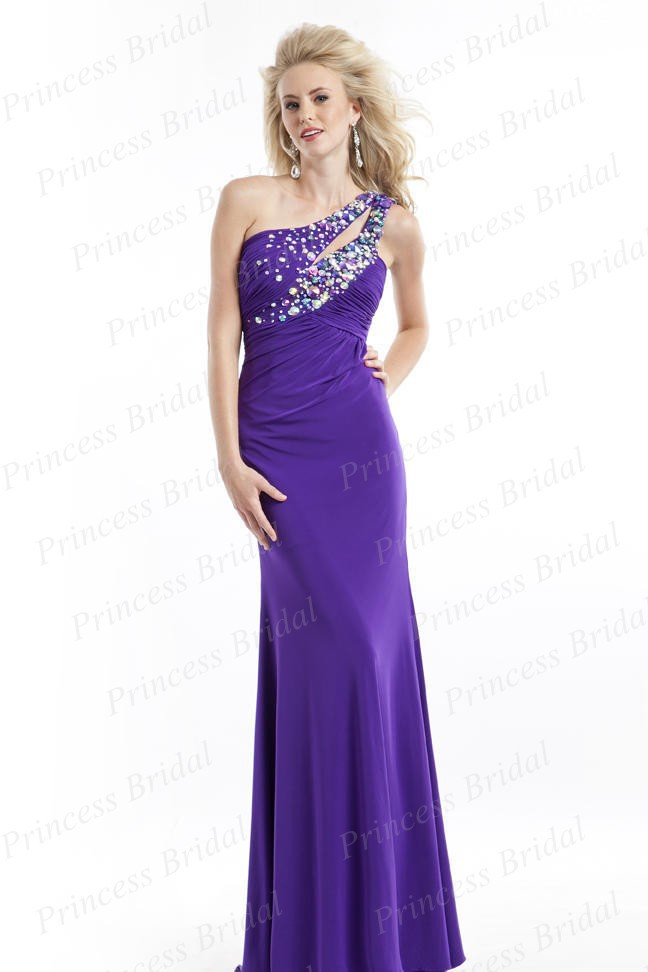 Free Shipping Asian Hot Sale Discount Fishtail Floor Length Chiffon Mermaid One Shoulder Prom Dress With Beadings PT2660(China (Mainland))