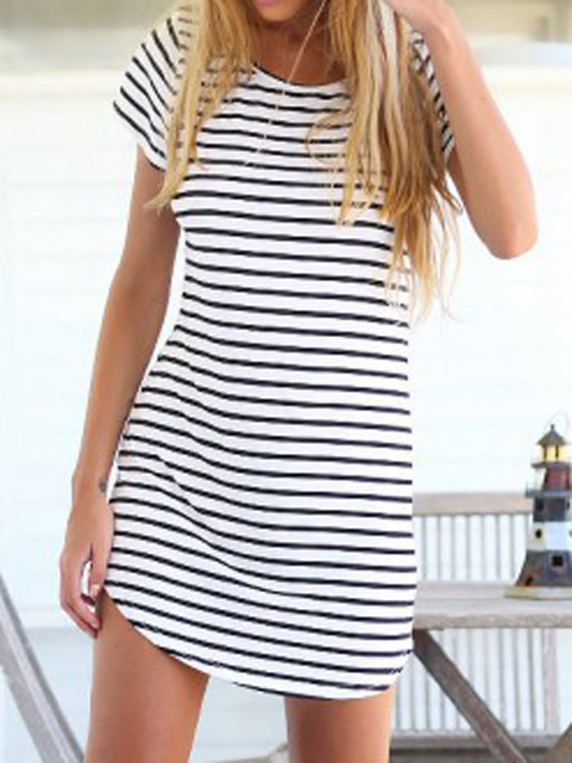 2016 black white elegant women shirt dress top tee summer for Best t shirts for summer