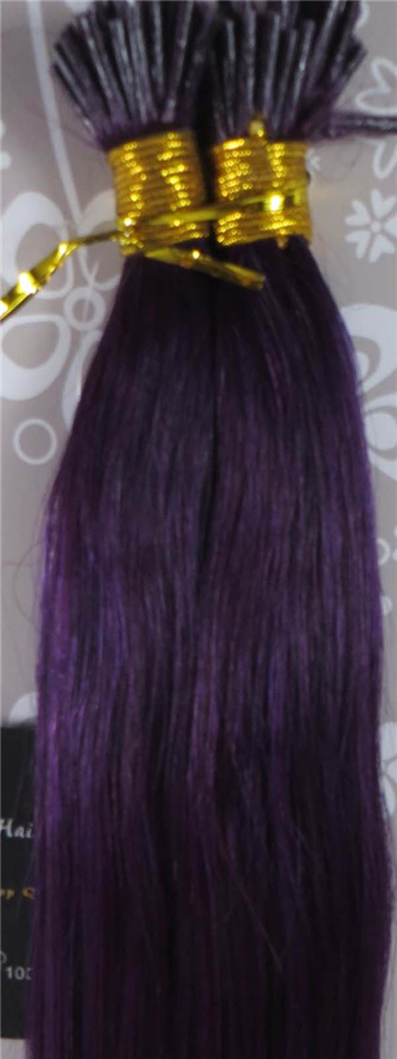 "Wholesale Indian 18""-26"" Women Remy Stick Tip I tip Human Hair Extensions 1g/s 100strands #Purple(China (Mainland))"