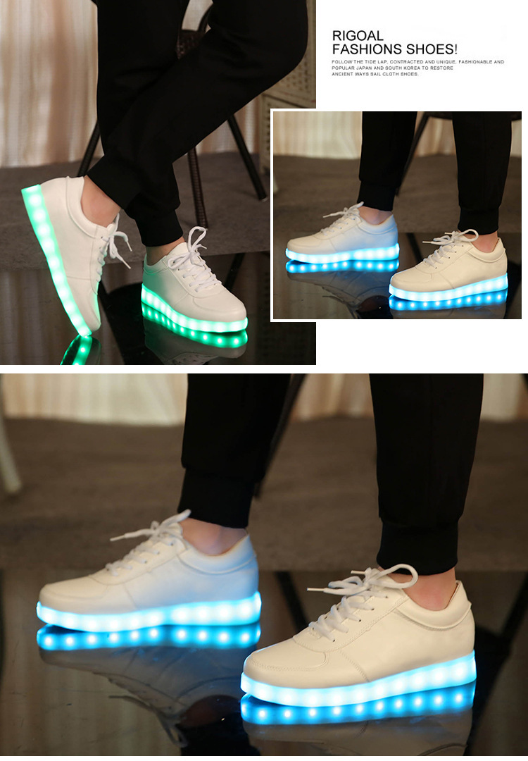 Solid Summer Led Light up Shoes Flashing Luminous Shoes with USB Charging White & black Children Shoes with led slippers Basket