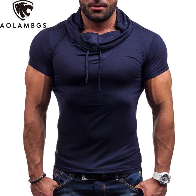 2016 т мужчины с капюшоном с коротким рукавом футболка плотно тренажерный зал одежды gymshark tshirt Homme летние спортивные мода солидный мужчина футболки футболки мужские