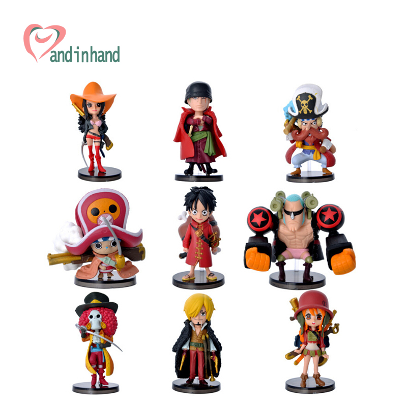 Cute Anime One Piece Action Figure Brinquedos 9PCS/Set Stand Up Dolls Ace Luffy Figurine Juguetes Collection Toys For Kids(China (Mainland))
