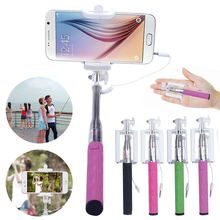Universal Wired Selfie Stick Handheld Monopod Built-in Shutter Extendable Mount Holder For Samsung iPhone Smartphone Top Quality