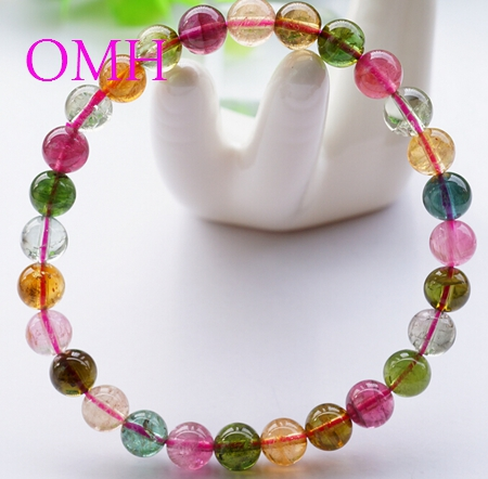 OMH wholesale 5.75-6.25mm IFull of vitality Colorful real Pure natural round Top-level tourmaline beads bracelet PJ408 DHL free(China (Mainland))