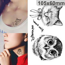 Disposable 3D Tattoo Waterproof Tattoo Sticker Paiting Brush Drawing Owl Letter Design Large Temporary Tattoo Stickers New Tary