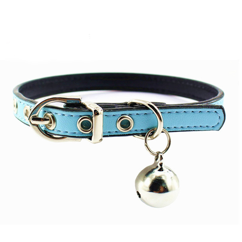 Sliver Plated Dog Cat Necklace Collar Zinc Alloy Leather Pet Product Collar With Bell 6 Colors Puppy Dog Neck Strap Cat Collars(China (Mainland))