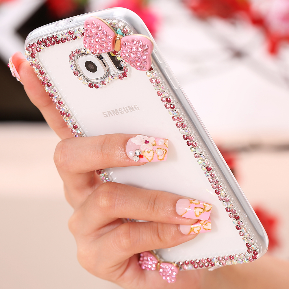 Cute 3D Bow Slim Bling Case For Samsung Galaxy S6 G9200 Fashion Crystal Clear Shiny Diamond Hard Cover For S6 High Quality(China (Mainland))
