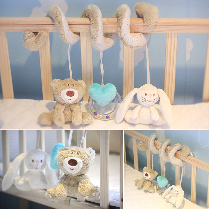 Free shipping 2015 new mamas&papas cot bed hanging toy baby rattle toy soft plush rabbit musical mobile products Sv18(China (Mainland))