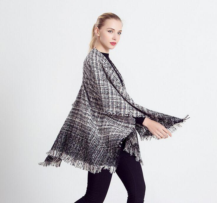 BeAvant vrouwen capes en poncho warme wollen trui Gebreide katoenen wrap shawl Tricot haak herfst batwing