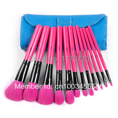 FREE SHIPPING! Best Quality Goat Hair Professional Makeup Brush Set 12PCS/Set Including a Deluxe Leather Bag!(China (Mainland))