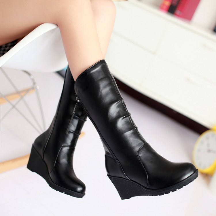 Winter wedges round toe knee-high solid color boots snow boots<br><br>Aliexpress