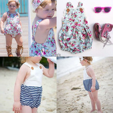 ins Hot Baby Girl Print Flower Rompers  For Height 60-100cm Cute Floral&Stripe Jumpsuits Baby Overalls(China (Mainland))