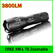 LED Flashlight 3800 Lumens Tactical Flashlight CREE XM-L T6 LED Torch Zoomable cree light For 3xAAA or 1x18650 Camping Hiking(China (Mainland))