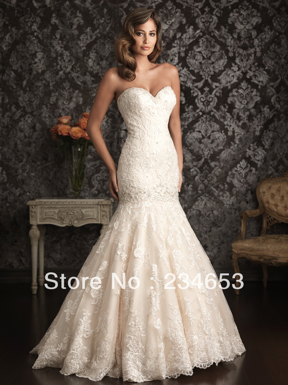 2014 Sweetheart Lace Appliques Fitted Mermaid Wedding Dresses With Dropped Wa