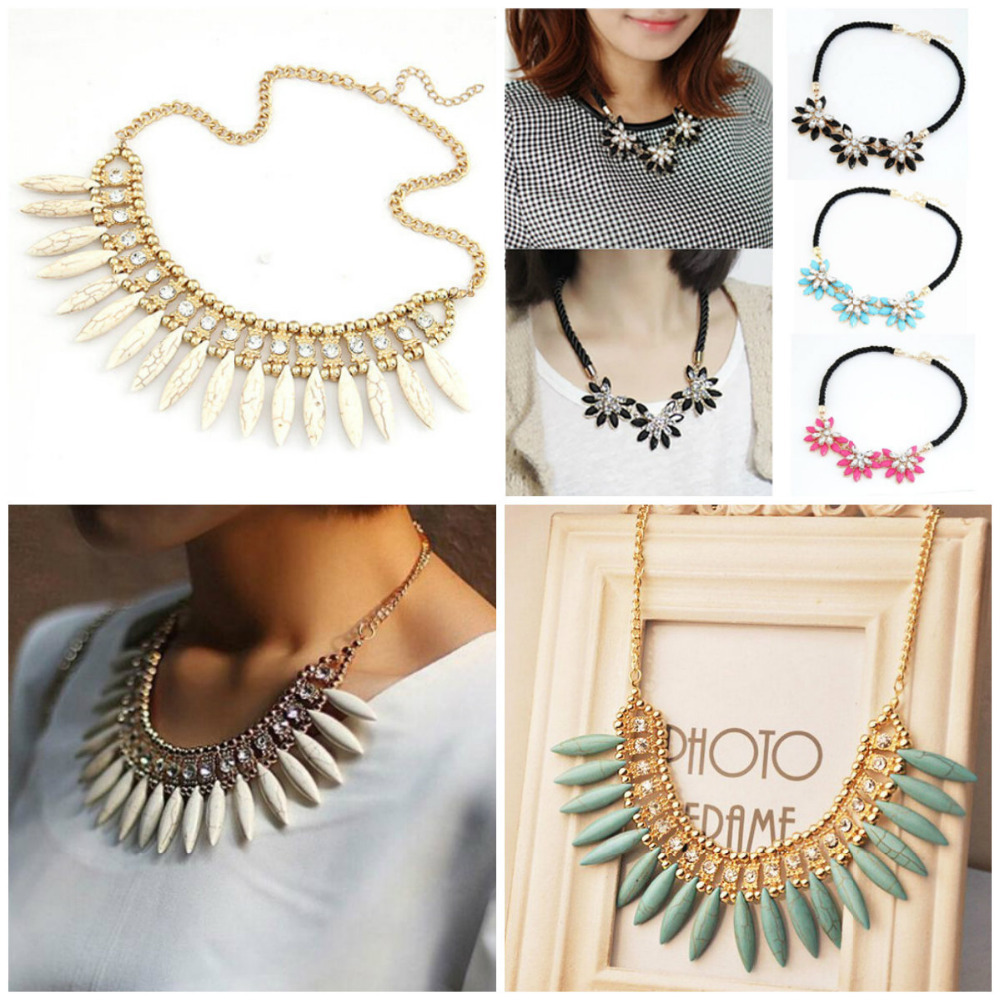 2015 New Fashion Gold Chain Choker Vintage Rhinestone Bib Statement Necklaces Pendants Women Jewelry Gift Flowers