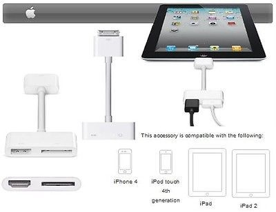 Digital AV HDMI to HDTV Charge Adapter Cable For iPhone 4 4S iPad2 3 iPod Touch IR(China (Mainland))