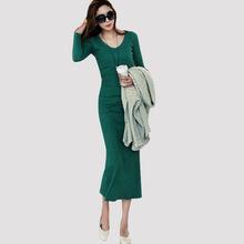 Hot sale Ladies Elegant dress 2016 new fashion Sexy slim long sleeve Mid-calf Women Dresses plus size S-3XL 8520(China (Mainland))