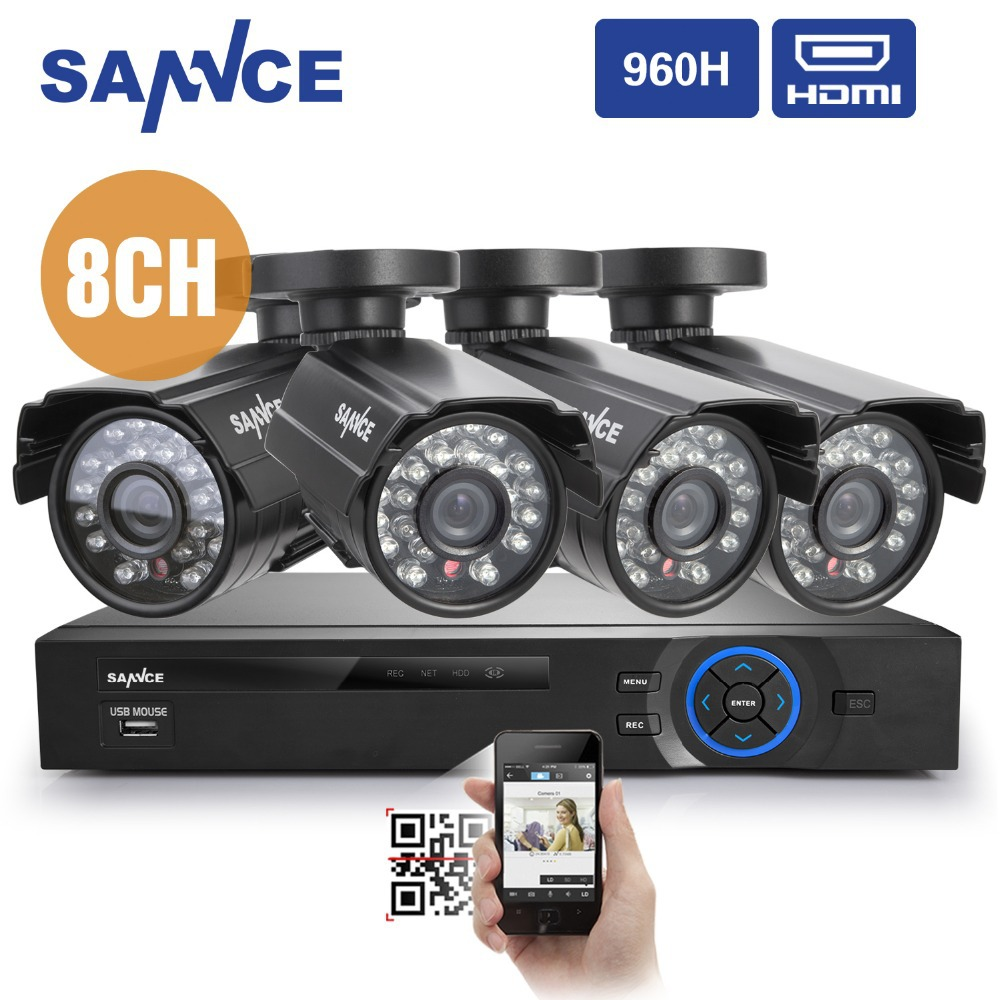 SANNCE 8CH CCTV System 960H DVR 4PCS 800TVL IR Weatherproof Outdoor CCTV Camera Home Security System Surveillance Kits(China (Mainland))