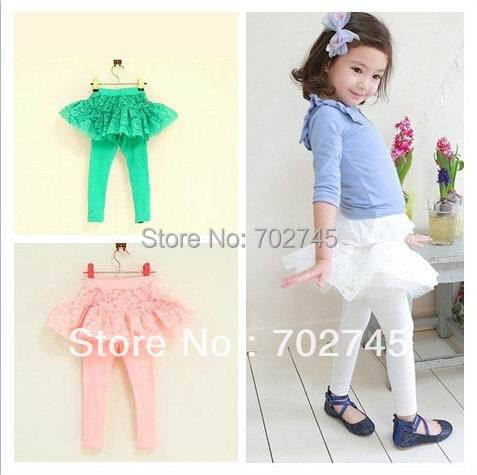 Pink Ideal 33785 Girl Legging Children Clothes Lace Pantskirt Green White