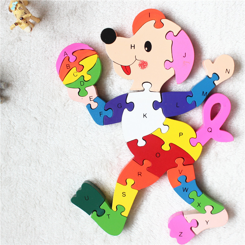 children puzzle Clown player models 3d wooden jigsaw kids puzzle for baby language learning education toys and birthday gift(China (Mainland))