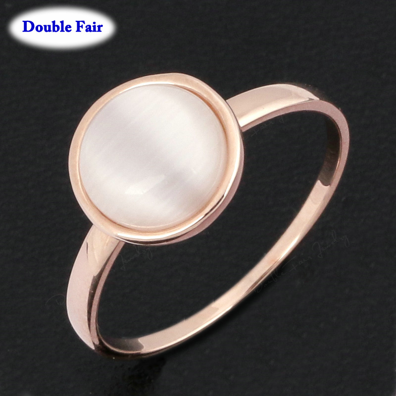 Concise Opal MoonStone Finger Ring 18K Rose Gold Plated Imitation Gemstone Fashion Brand Jewelry For Women Wholesale DWR153()