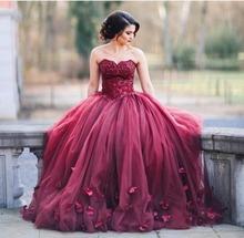Arabic Sexy Red Evening Dress Sweetheart Sleeveless Sweep Train Ball Gown Prom Dresses with petals 2016 vestido de madrinha(China (Mainland))