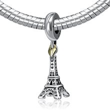 Authentic 925 Sterling Silver Bead Charm Paris Eiffel Tower & Gold Heart Pendant Beads Fit Pandora DIY Bracelets Jewelry YW20497(China (Mainland))