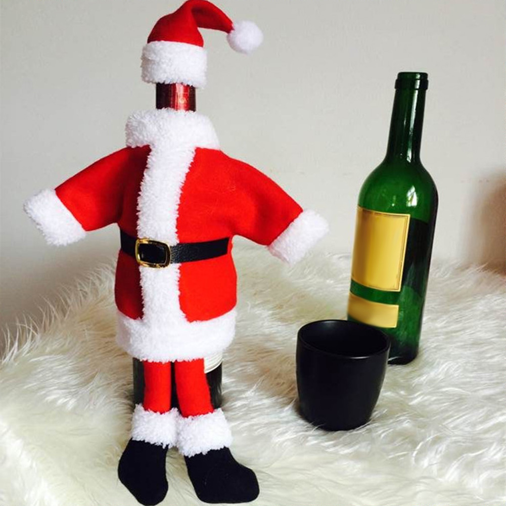 Christmas Velvet Santa Clause Clothing With a little Hat Dress Wine Bottle Cover Gift Home Decoration Holiday Party New Years(China (Mainland))
