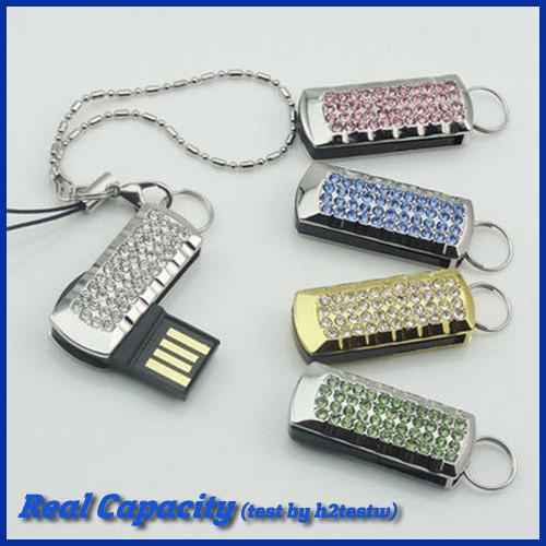 free shipping mini metal rotation usb flash drive crystal diamond pendrive memory usb stick for women 4gb 8gb 16gb 32gb(China (Mainland))
