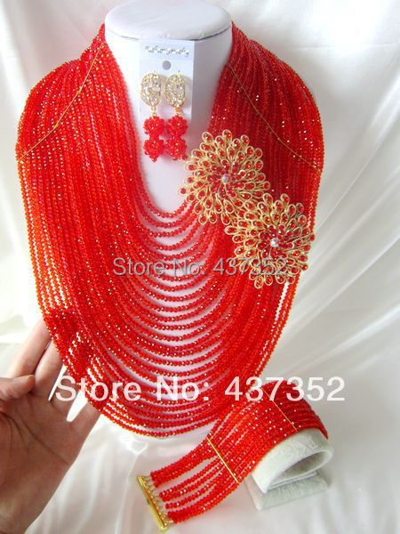 New Fashion Nigerian African Wedding Beads Jewelry Set 25layers Red Necklaces Bracelet Earrings CPS-1274<br><br>Aliexpress
